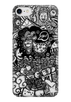 """Чехол для iPhone 7 глянцевый """"Иллюстрация"""" - баран, козел, звезда, ананас, люди"""