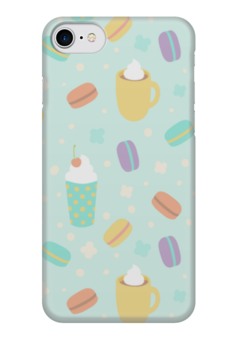 "Чехол для iPhone 7 глянцевый ""Макарон Macarons Макарун"" - макарон, макарун, кофе, macarons, французские сладости"