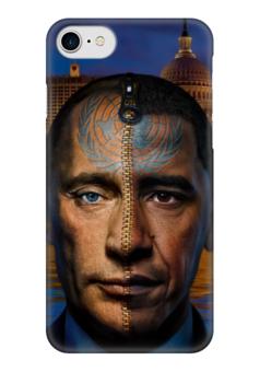 """Чехол для iPhone 7 глянцевый """"Путин / Обама"""" - америка, россия, обама, путин, президент"""