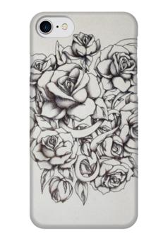 """Чехол для iPhone 7 глянцевый """"Roses"""" - цветы, tattoo, тату, розы"""