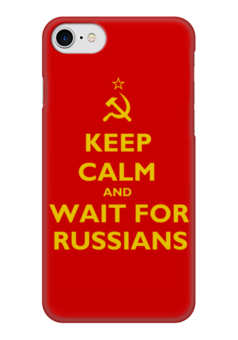 "Чехол для iPhone 7 глянцевый ""Keep calm and wait"" - ссср, keep calm, keep, calm, russians"