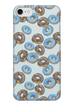 """Чехол для iPhone 7 глянцевый """"Пончики"""" - голубой, акварель, пончики, паттерн, мятный"""