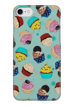 """Чехол для iPhone 7 глянцевый """"Капкейки на мятном фоне"""" - еда, вкусно, мятный, кексы, капкейки"""