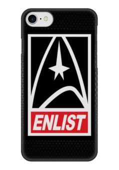 """Чехол для iPhone 7 глянцевый """"Звездный Путь (Star Trek)"""" - obey, star trek, звездный путь, enlist"""