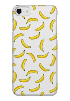 "Чехол для iPhone 7 глянцевый ""Летающие бананы"" - жёлтый, бананы, банан, фон, летающие"