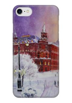 """Чехол для iPhone 7 глянцевый """"Новогодняя Москва"""" - новый год, москва, снег, красная площадь, рождестово"""