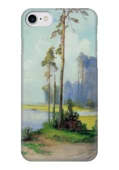"""Чехол для iPhone 7 глянцевый """"Летний пейзаж. Сосны."""" - картина, саврасов"""