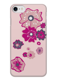 """Чехол для iPhone 7 глянцевый """"Цветы"""" - цветы, розовый, несколько"""