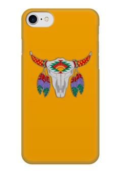 "Чехол для iPhone 7 глянцевый ""Этнический бык"" - 23 февраля, желтый, этно, бык, bull"