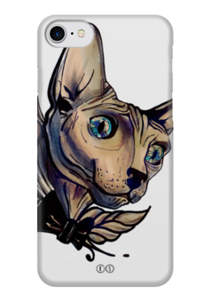 """Чехол для iPhone 7 глянцевый """"Mr. Cox """" - кот, бабочка, cat, кокс, сфинкс, голубые глаза, tm kiseleva"""