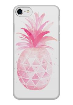 """Чехол для iPhone 7 глянцевый """"Pink pineapple"""" - фрукты, pink, ананас, pineapple"""