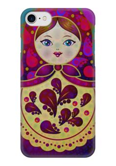 "Чехол для iPhone 7 глянцевый ""МаТрёшка"" - любовь, кукла, россия, сувенир, матрёшка"