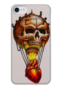 "Чехол для iPhone 7 глянцевый ""Skull Balloon"" - skull, череп, сердце, heart, воздушный шар"