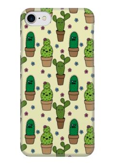 """Чехол для iPhone 7 глянцевый """"Кактусы"""" - цветы, кактус, дудл"""