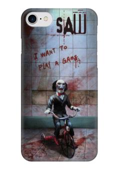 """Чехол для iPhone 7 глянцевый """"SAW - ПИЛА"""" - saw, пила, кино, фильм, ужасы"""