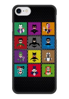 "Чехол для iPhone 7 глянцевый ""Герои Бэтмена (Поп-арт)"" - joker, batman, pop art, bane, catwoman"