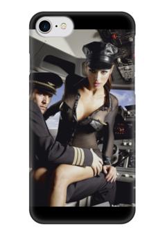 """Чехол для iPhone 7 глянцевый """"Hot Air"""" - секс, страсть, стюардесса, пилот, бортпроводница"""