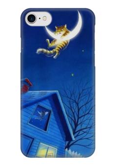 "Чехол для iPhone 7 глянцевый ""Кот и Месяц"" - кот, животные, ночь, луна, месяц"