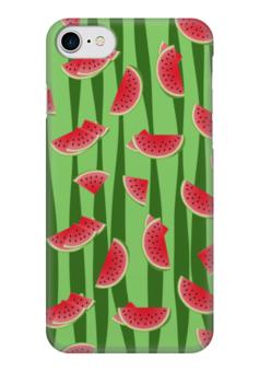 """Чехол для iPhone 7 глянцевый """"Арбуз"""" - зеленый, арбуз, полосатый, семена, дольки"""