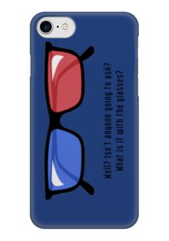 """Чехол для iPhone 7 глянцевый """"Doctor Who 3D"""" - очки, 3д, доктор кто"""