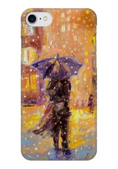 """Чехол для iPhone 7 глянцевый """"Вдвоем  """" - любовь, новый год, зима, снег, влюбленные"""