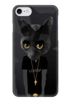 "Чехол для iPhone 7 глянцевый ""Кот хипстер"" - кот, хипстер, арт"