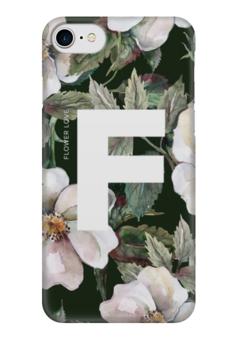 """Чехол для iPhone 7 глянцевый """"Flower love"""" - цветок, flower, дизайн, буква, цветочный принт"""