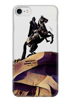 """Чехол для iPhone 7 глянцевый """"Медный всадник"""" - санкт-петербург, медный всадник, петр первый"""