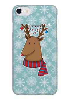 """Чехол для iPhone 7 глянцевый """"Новогодний олень"""" - новый год, узор, снег, снежинки, олень"""