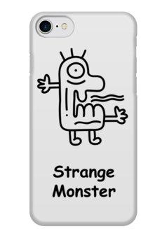 """Чехол для iPhone 7 глянцевый """"Strange Monster"""" - чб, монстр, смешной, странный, doodle"""