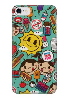 "Чехол для iPhone 7 глянцевый ""Супер Мега Весело"" - sticker bombing, стикер-арт, мега весело, mega fun"