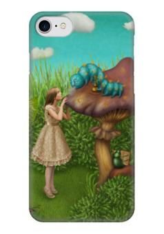 "Чехол для iPhone 7 глянцевый ""Алиса в стране чудес"" - алиса, гриб, гусеница, алиса в стране чудес, alice in wonderland"