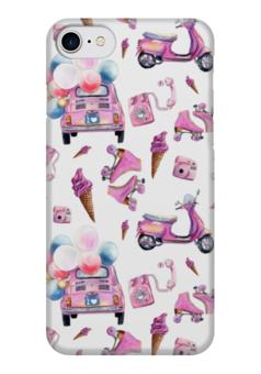 "Чехол для iPhone 7 глянцевый ""PinUp Case"" - пинап, мопед, ролики, машина, шарики"