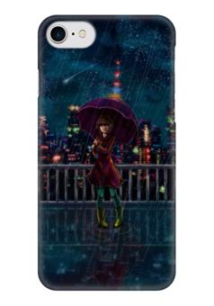 """Чехол для iPhone 7 глянцевый """"Ночное небо"""" - ночь, дождь, аниме, звёзды"""