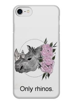 """Чехол для iPhone 7 глянцевый """"Only rhinos"""" - case, цветы, носорог, rhinos"""