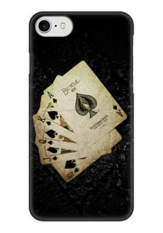 """Чехол для iPhone 7 глянцевый """"Royal flush"""" - карты, игра, покер, флеш, роял флеш"""