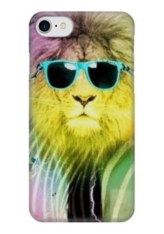 """Чехол для iPhone 7 глянцевый """"Царь зверей"""" - царь, модно, лев, очки, lion"""