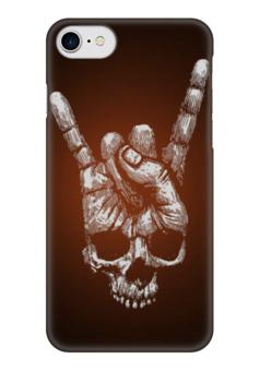 "Чехол для iPhone 7 глянцевый ""Метал Рок ""Коза"""" - рок музыка, череп, хеви метал, хэви метал, skull"