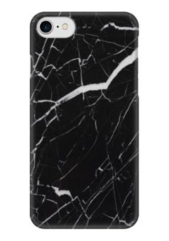 """Чехол для iPhone 7 глянцевый """"Черный мрамор"""" - мрамор, черное"""