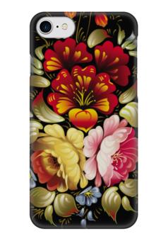 """Чехол для iPhone 7 глянцевый """"Хохлома цветы"""" - цветы, хохлома"""