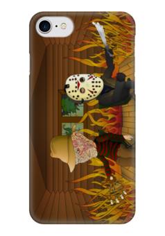 "Чехол для iPhone 7 глянцевый ""Джейсон и Фредди"" - freddy krueger, jason voorhees"