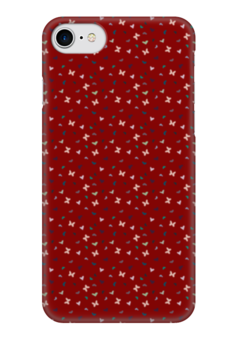 "Чехол для iPhone 7 глянцевый ""Бабочки"" - бабочки, цветы, сердца, красный, сердечки"
