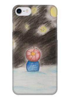 """Чехол для iPhone 7 глянцевый """"Полярная ночь"""" - праздник, зима, ночь, снег, звёзды"""