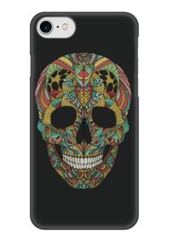 "Чехол для iPhone 7 глянцевый ""Череп"" - skull, череп, узор, сова, паттерн, символ, owl, дудл"