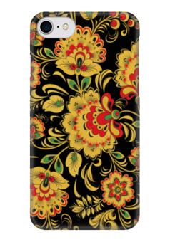 """Чехол для iPhone 7 глянцевый """"Хохлома"""" - цветы, узоры, россия, russia, хохлома"""