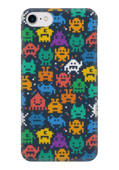 """Чехол для iPhone 7 глянцевый """"Монстры пиксели"""" - minecraft, pacman, монстры, pixel art, пиксели"""