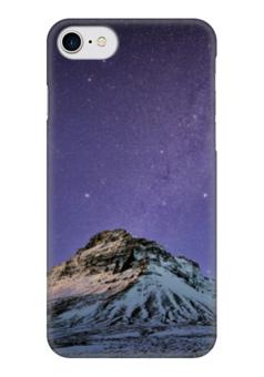 """Чехол для iPhone 7 глянцевый """"зимнее звездное небо"""" - звезды, зима, космос, снег, горы"""