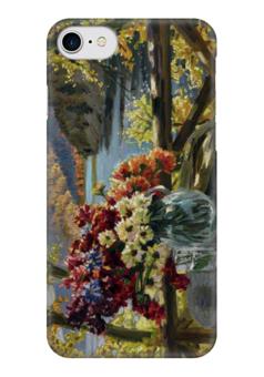 """Чехол для iPhone 7 глянцевый """"Цветы на фоне озера"""" - картина, вещилов"""