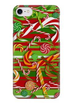 """Чехол для iPhone 7 глянцевый """"Карамельное настроение"""" - конфеты, рождество, карамель"""
