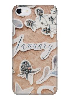 """Чехол для iPhone 7 глянцевый """"Январь"""" - зима, шишки, january, январь"""